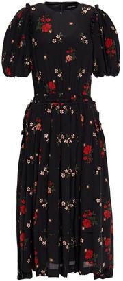 Simone Rocha Ruffle-trimmed Pleated Floral-print Silk Crepe De Chine Midi Dress