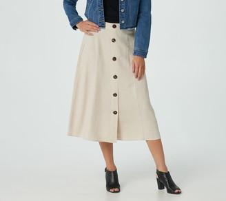 Susan Graver Petite Woven Washed Linen-Blend Midi Skirt