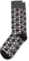 Jonathan Adler Multicolored Cross-Print Socks, Navy/Red/Multi