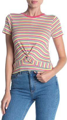 Modern Designer Striped Twist Front T-Shirt