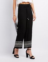 Charlotte Russe Embroidered-Trim Palazzo Pants