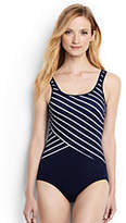 Lands' End Women's Petite Tugless One Piece Swimsuit Soft Cup-Deep Sea/White Poolside Stripe