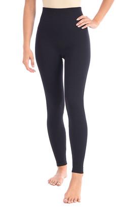 Body Beautiful Women's Leggings BLACK - Black Double-Layered High-Waist Shaping Leggings - Women & Plus
