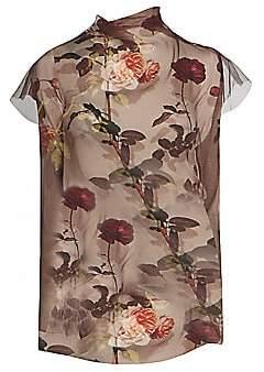 Dries Van Noten Women's Printed Short-Sleeve Sheer Silk Tulle Blouse