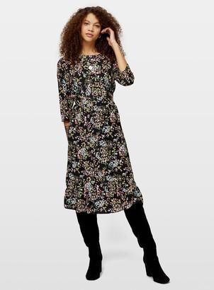 Miss Selfridge PETITE Black 3/4 Sleeve Midi Smock Dress