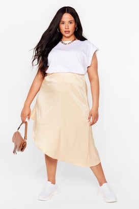 Nasty Gal Womens Sleek in Sleek Out Jacquard Plus Midi Skirt - Gold