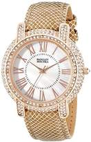 Badgley Mischka Women's BA/1354WMCM Swarovski Crystal Accented Rose Gold-Tone and Khaki Leather Strap Watch