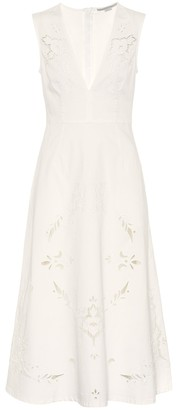 Stella McCartney Embroidered denim midi dress