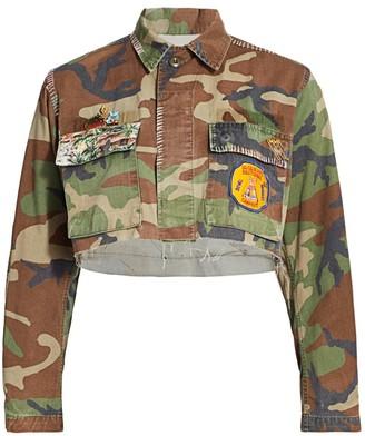 Riley Hawaiian Print Camo Cropped Jacket