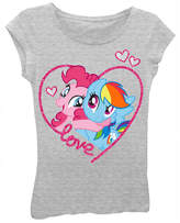 Asstd National Brand My Little Pony Girls' Love Hugs and Hearts Short Sleeve Graphic T-Shirt with Magenta Glitter and Silver Foil