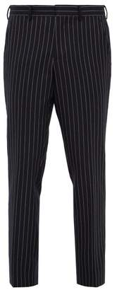 Burberry Chalk Striped Wool Twill Trousers - Mens - Navy Multi