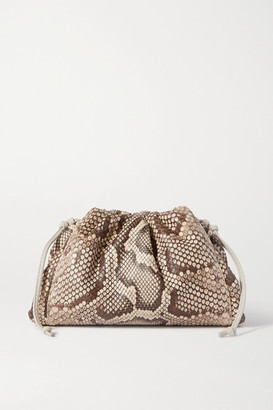 Bottega Veneta The Pouch Small Leather-trimmed Python Clutch - Light brown