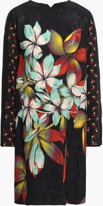 Etro Paneled Floral-print Satin-jacquard And Crepe De Chine Dress