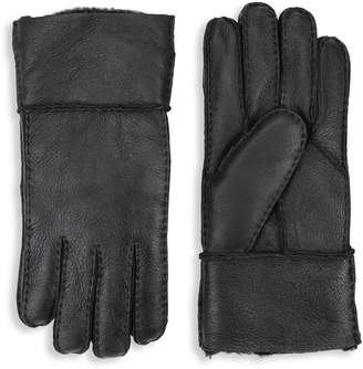 Surell Lamb Shearling Lined Rolled-Cuff Leather Gloves
