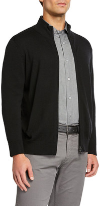 Neiman Marcus Men's Zip-Front Merino Wool Sweater