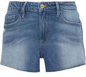 Frame Le Grand Garcon Distressed Denim Shorts