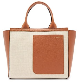 Valextra Shopping Mini Canvas And Leather Tote Bag - Womens - Beige Multi