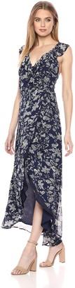 BB Dakota Women's RSVP Kelli Ruffle Detail Maxi Wrap Dress