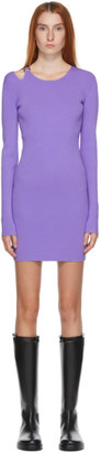Helmut Lang Purple Knit Ring Dress