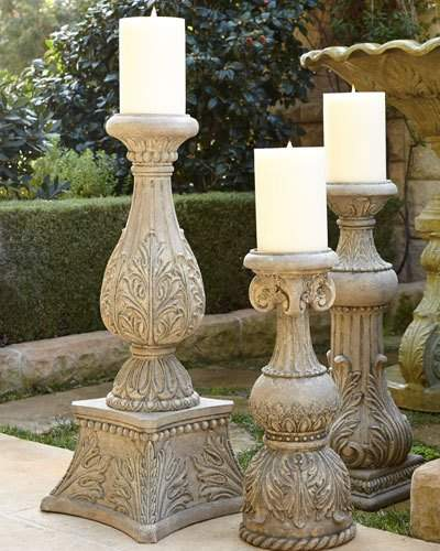 """GG Collection G G Collection 36""""T Cast-Stone Candlestick"""