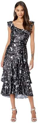 Marchesa Sleeveless Printed Charmeuse Tiered Cocktail (Black) Women's Dress