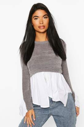 boohoo Petite Cheniell 2 In 1 Layered Shirt Jumper