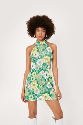 Nasty Gal Womens Floral Print High Neck Jersey Dress - Green - 6