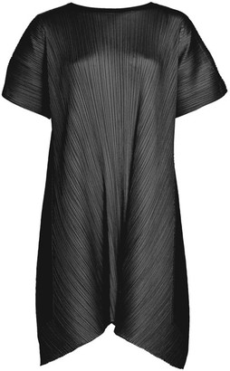 Pleats Please Issey Miyake Overlapped Tie Back Short Dress