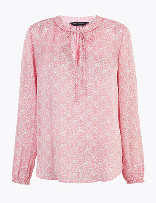 Marks and Spencer Ditsy Floral Tie Neck Blouson Sleeve Blouse