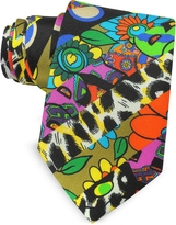 Moschino Multicolor Animal Print & Flowers Printed Twill Silk Narrow Tie