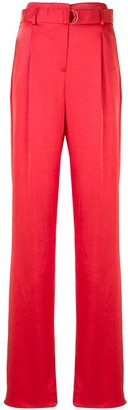 Lapointe Crinkle Satin Belted Trousers