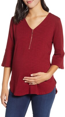 Angel Maternity Zip Front Bell Sleeve Maternity/Nursing Top