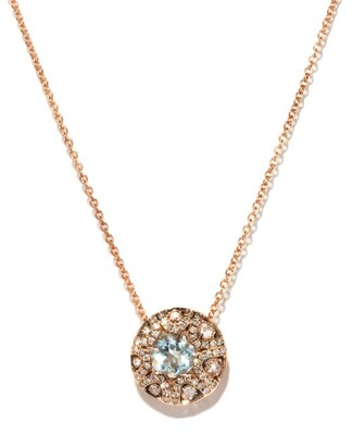 Selim Mouzannar Diamond, Aquamarine & 18kt Gold Necklace - Pink Gold