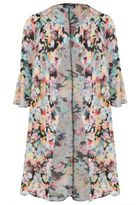 Yours Clothing YoursClothing Womens Limited Collection Floral Chiffon Duster Jacket Plus Size