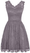 Olidress Women's Short Sleeveless Lace Bridesmaid Dress Prom Dress Grey