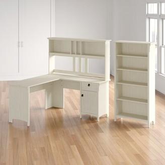 Three Posts Salina L-Shape Credenza Desk with Hutch Color: Antique White