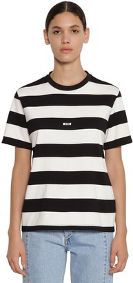 MSGM Striped Cotton Jersey T-shirt