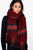 Boohoo Rachel Tartan Check Oversize Blanket Scarf