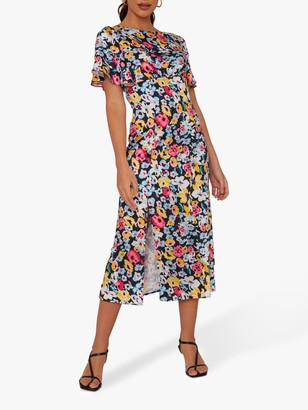Chi Chi London Benilda Floral Print Dress, Black/Multi