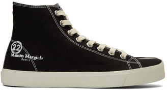 Maison Margiela Black Canvas Tabi High-Top Sneakers