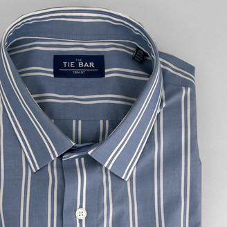 Tie Bar Double Vertical Stripe Blue Dress Shirt