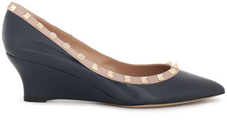 Valentino Rockstud Patent-leather Wedge Pumps
