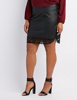 Charlotte Russe Plus Size Faux Leather Lace-Hem Skirt