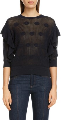Chloé Floral Embroidered Ruffle Sleeve Sweater