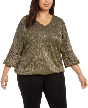 Alfani Plus Size Metallic Balloon-Cuff Top, Created For Macy's