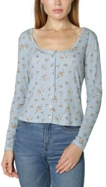 Ultra Flirt Juniors' Button-Front Pointelle-Knit Top