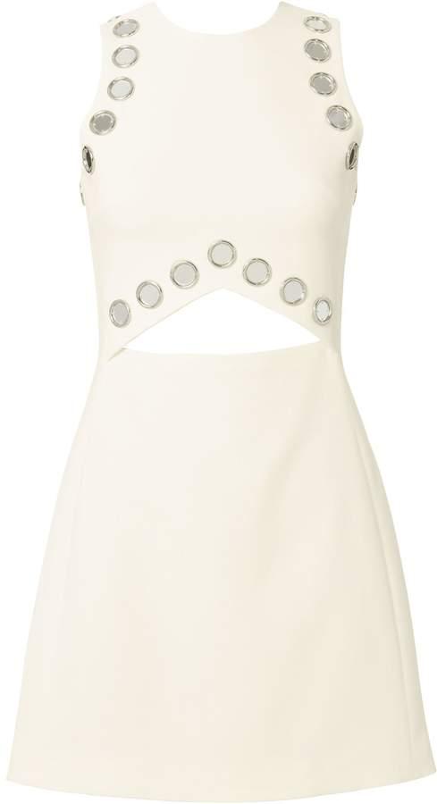 David Koma Mirror-Embellished Cutout Mini Dress
