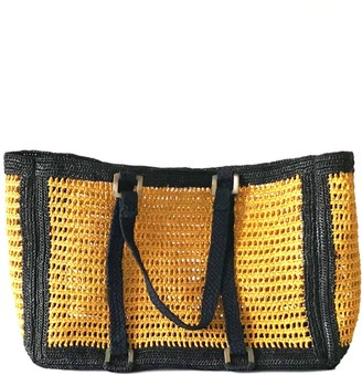 Maraina London Agnes Yellow Large Raffia Beach Bag