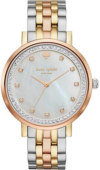 Kate Spade Monterey pave crystal tri-tone stainless steel bracelet watch