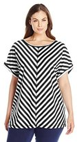 Ruby Rd. Women's Plus-Size Boat Neck Short Sleeved Striped Tunic